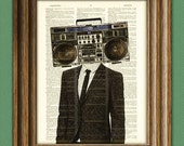 The BOOMBOX HEAD Radio Man in a suit illustration beautifully upcycled dictionary page book art print