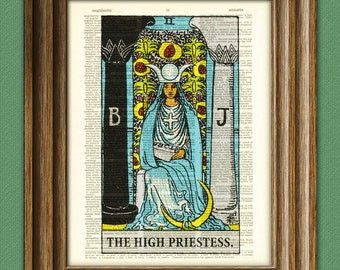 The High Priestess Major Arcana Tarot Card deck print over an upcycled vintage dictionary page book art
