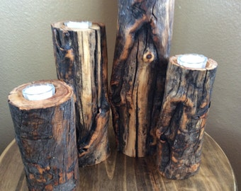Rustic Wooden candle set  in Distinctively Different Elk Rub Aspen Wood