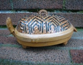 Vintage Turtle Basket - Novelty - Trinket Basket - Bamboo - Shanghai Handicrafts - Asian - Novelty -  Decor
