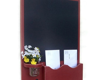 Chalkboard Mail Organizer with Mason jar - Wood - Letter Holder - Mail Holder - Key Hooks