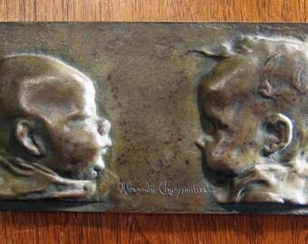 Alexandre Charpentier Bronze plaquette  1892 art nouveau