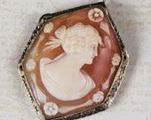 Vintage Edwardian 14k White Gold Filigree Shell Cameo Brooch and Pendant