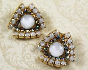 Vintage Cloudy Moonstone Rhinestone Clip On Earrings