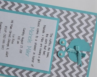Gender Neutral Shower Invitations Aqua Teal Blue Chevron Baby Shower Invitations Turquoise Gray Baby Shower Carriage Die Cut Invitations