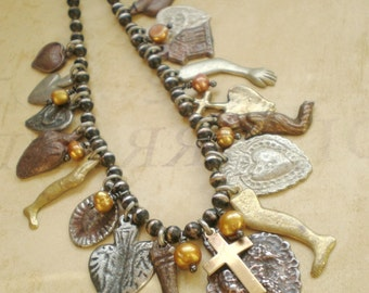 Golden Blessing Milagro Necklace.. EX Voto Heart Charm .. GIFT .. wife mom sister