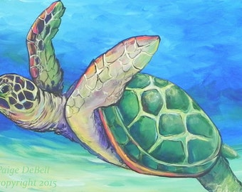 """TURTLE SWIMMING BY **  11"""" x17"""" Print of Original Acrylic on Canvas"""