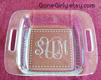 Fancy Monogrammed 8x8 inch Pyrex - 2 Quart - Engraved Bakeware - Great Gift! + Free Lid