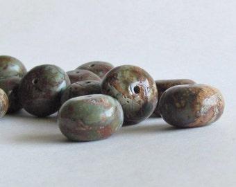 """Green """"Opal"""" Beads - Green Chalcedony - Big Chunky Beads"""