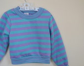 Vintage Girl's Purple and Turquoise Striped Sweatshirt - Size 3T
