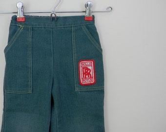 Vintage 1970s Children's Green Denim Pants with Rolls Royce Applique - Size 3T