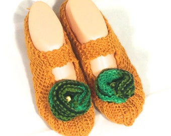 Cosy House Slipper Socks  (Orange, with variegated green flowers)