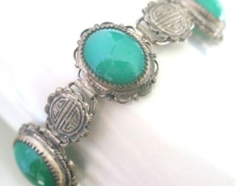 Art Deco Chinese Silver Green Jade Peeking Glass Dragon Vintage Antique Bracelet