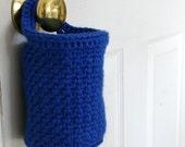 Doorknob Basket - Crochet Hanging Basket - Crochet Organizer Basket in Royal Blue