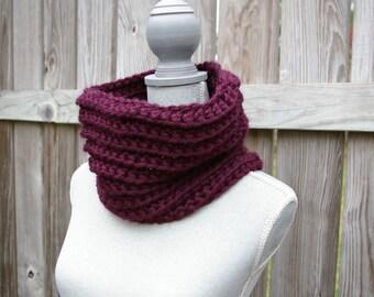 Chunky Crochet Cowl, Circle Scarf, Cowl Scarf in Plum Purple