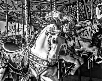Black & White Carousel 10X10 Photograph Photo Art Print