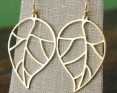 Gold leaf pendant earrings and gold vermeil ear wires, leaf outline, big earrings, gold leaf earrings