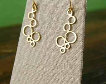 Gold or sterling silver bubble earrings, sterling silver earrings, gold links, gold earrings, simple, everyday jewelry, silver circle