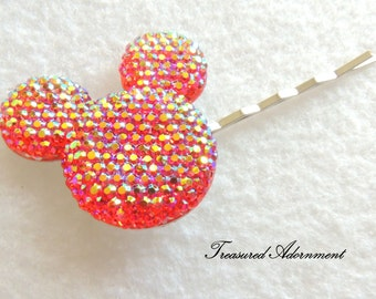 Mickey Mouse Hair pin, Red Pave style Resin Rhinestone, Stocking Stuffer, Holiday gift present, Gift Under 5,  Bobby pin, Hair clip