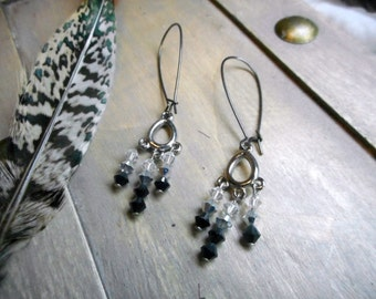 Incarnation Ombre Swarovski crystal chandelier earrings. Gypsy . Witchy. Occult. Ritual. Black Crystals