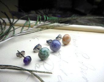The Lunar Phases  Earrings. Iolite Orange Cream Jasper Tree Agate and Amethyst Boho Earrings Set of four single Domed Moon Stone Studs
