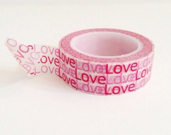 Words Love Washi Tape Pink Red