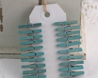 Beach Blue Mini Clothespins, Beach Wedding, Gift Wrapping, Party Supplies, Party Favors, Photo Clips. Bag Clips, Wish Tree Clips