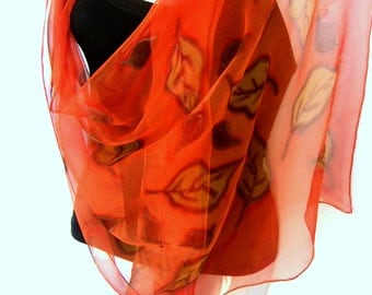 Silk Scarf, Hand Painted Silk Scarf, Leaves, Orange Brown Sand, Silk Chiffon Scarf, Gift For Her
