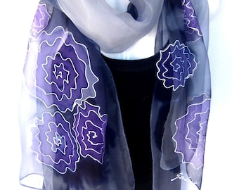 Hand Painted Silk Scarf, Abstract, Gray Purple Black, Chiffon Silk Scarf, Gift For Her