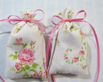 "Ivory 4""X2"" Sachet-'Floral Bouquet' Fragrance-Pink Floral Sachet-Pink Ribbon-Cotton Fabric Herbal Sachet-Cindy's Loft-592"