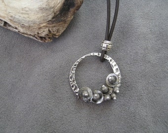Contemporary Oxidized Silver Leather Necklace Modern Minimalist Artisan Hammered Hoop Wire Wrapped Flower Cluster Necklace