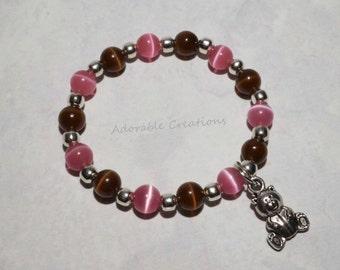 Pink & Brown Teddy Bear Bracelet