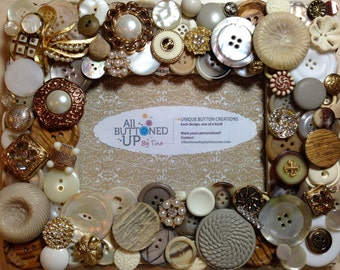 Earth Toned Button Frame in Taupe Tan Ivory and White ~ Boho Frame ~ 4x6 photo