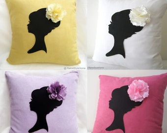 Set Of 4 Piece. Bridesmaid Gift. Romantic Cameo White Yellow Lilac Fuchsia Pillow Covers. Lady With Floral Headpiece. Bridal Shower Gift