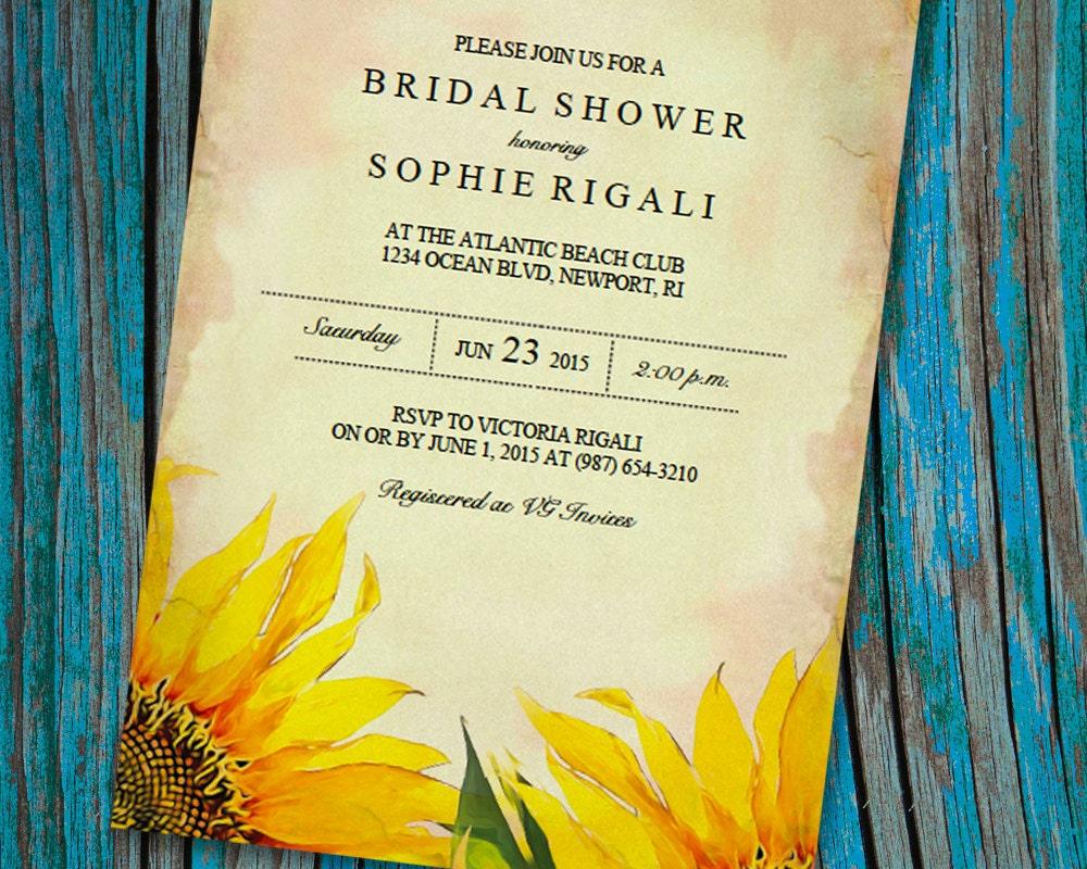 Wedding Shower Invitation: Printable Bridal Shower Invitation Template Vintage Sunflower