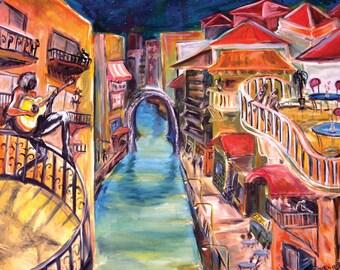 Venice grand canal Painting Art print guitar player troubadours musician cityscape