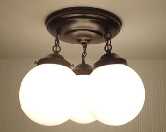 Winterport II. CEILING LIGHT Trio of Milk Glass Globes - Flush Mount Lighting Bathroom Kitchen Fixture Farmhouse Mid-Century Track LampGoods