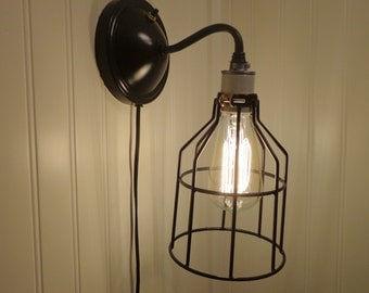 Industrial Wall LIGHT SCONCE Plug-In with Edison Bulb