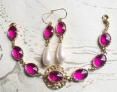 Jewel Gold Filigree Bracelet and Earring Set Hot Pink by MinouBazaar