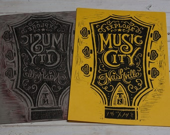 Explore Music City - Yellow Block Print