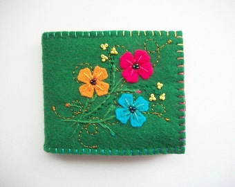 Needle Book Green Felt Needle Keeper with Hand Embroidered Felt Flowers and Swirls Handsewn