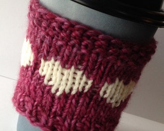 Pink Coffee Sleeve, Magenta Cup Cozy, White Hearts, Knitted Cup Cozy, Wool Cozies, Maroon Coffee Cozy