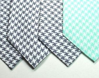 Houndstooth Neckties, Gray Houndstooth Neckties, Mens Neckties, Mint Houndstooth Neckties, Custom Neckties