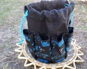 Cotton Canvas Tote Carolina Panthers Fabric Design Bingo Bag Holds 18 Daubers at once