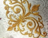 """GB56 Embroidered Applique Gold Metallic Iron On Designer Patch 6.5""""  (GB56-gl)"""