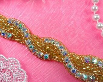 "0475 Gold Backing Crystal Aurora Borealis AB Rhinestone Braided Gold Beaded Trim .75"" (0475-glab)"