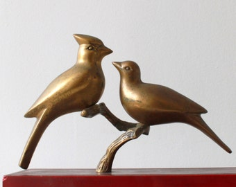 Vintage Brass Cardinal Birds on a Branch - Solid Brass Bird Couple