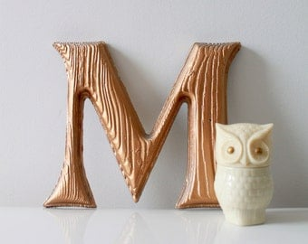 Vintage Faux Wood Golden Letter M - Wall Hanging