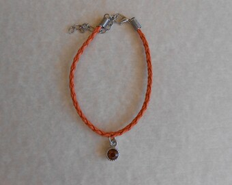 Orange Crystal Orange Braided Leather Bracelet