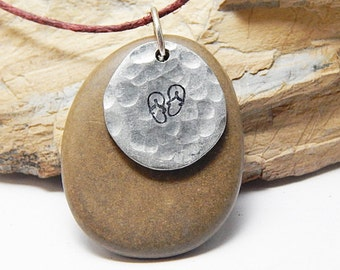 Hand polished Beach Stone Flip Flop Pendant, hand stamped